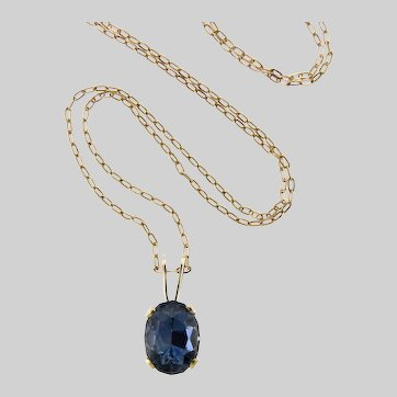 Gorgeous Steel Blue Natural Sapphire and 14k Gold Pendant