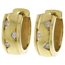 Incredibly Wearable 14k Gold and Diamond Huggie Hoops