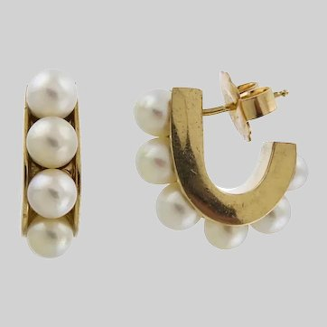 Distinctive Cultured Pearl and 14k Gold Statement Hoops