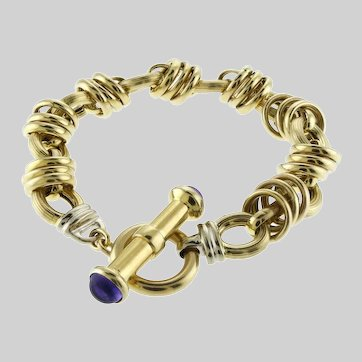 Late-90s 14k Gold Fancy Link and Amethyst Toggle Bracelet