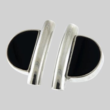 Fabulous Sterling and Onyx Post-Modern Inspired Earrings