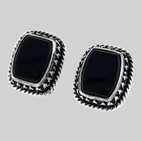 Sterling and Onyx Studs with Intricate Bezel