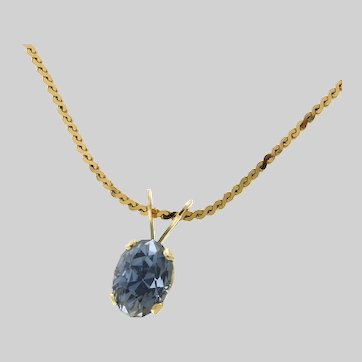 Stormy Sky Blue Natural Sapphire and 14k Gold Pendant