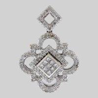 Sparkly Alhambra Inspired Diamond and 18k White Gold Pendant