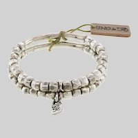 Rustic Double Row Organic Bracelet by Uno de 50