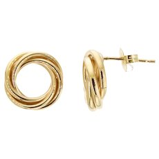 Elegant and Clean 14k Gold Triple-Knot Studs