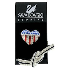 US Flag Heart and Tied Ribbon Pins by Swarovski