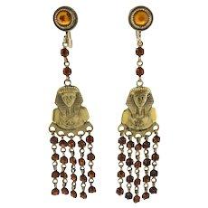Fantastic 1920s Egyptian Revival Chandelier Earrings
