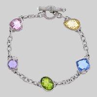 "Bright & Romantic Judith Ripka ""Ambrosia"" Multi-Gem and Sterling Bracelet"