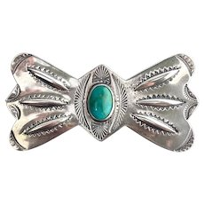 Circa 1930 to 1950 Handmade Navajo Sterling & Turquoise Brooch