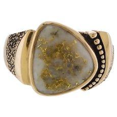 Sculptural Vintage 14k Gold and Gold Quartz Ring