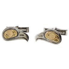 First Peoples Native Sterling and 14k Gold Eagle Cufflinks