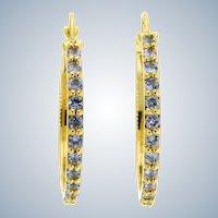 Radiant Tanzanite and 14k Yellow Gold Hoop Earrings