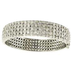 EFFY Sterling Silver and Diamond Basket Weave Bangle Bracelet