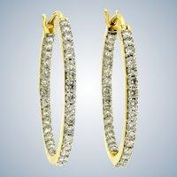 Dazzling Diamond and 14K Gold Hoop Earrings