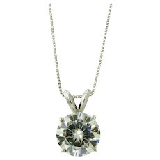 Dazzling Moissanite Solitaire Pendant Necklace in 14K