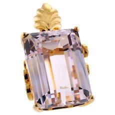 Elegant Kunzite and Diamond Pendant in 14k Gold