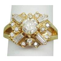 "1.75ct tw Diamond ""X"" Ring 14k Yellow Gold Size 8.75"