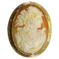 Large Finely Detailed Victorian 10k Gold Shell Cameo Brooch Pin Pendant