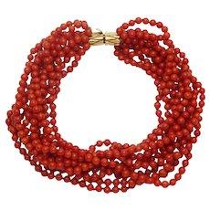 """Estate 11-Strand Oxblood Red Coral Bead 3mm Bracelet 9"""" 14k Clasp"""