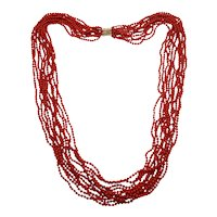 """Estate 11-Strand Oxblood Red Coral Bead 3mm Necklace 34"""" 14k Clasp"""