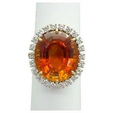 12.96ct tw Large Oval Mandarin Citrine Filigree Ring 14k Gold Size 7