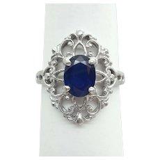 1.20ct Oval Sapphire & Diamond Filigree Ring Platinum Size 6.75 Gemworld