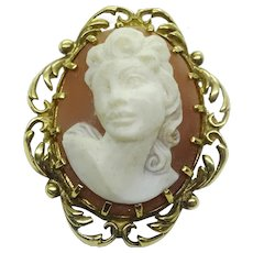 Vintage 14k Yellow Gold Small Oval Cameo Pin Pendant