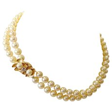 Double Strand Akoya Pearl Necklace, 14k Gold Diamond Floral Clasp