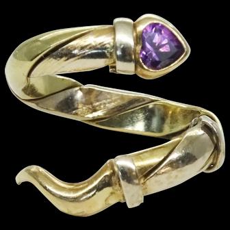 Estate Designer Faro Italian 14k Yellow Gold Snake Ring, Size 6