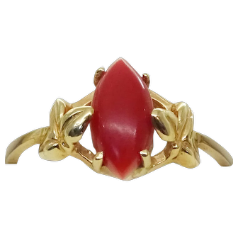 Vintage Estate 14k Yellow Gold Marquise Cut Oxblood Coral Ring, Size 6.5