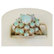 14k Gold Opal Cluster Ring, Mid-20th Century, Vintage Estate