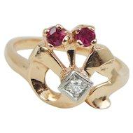 Retro Vintage Diamond Ruby 14k Rose Gold Palladium Ring, .13ct tw