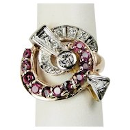 Retro Vintage 14k Rose Gold Platinum Diamond Ruby Swirl Ring