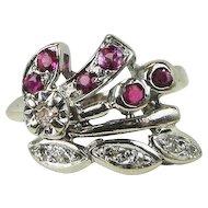 Retro Vintage Diamond Ruby 14k White Gold Ring, .33ct tw