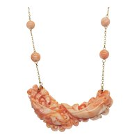 Estate Chinese Coral Koi Fish Pendant Bead 14k Yellow Gold Necklace