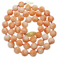 "Estate 7.5mm Natural Coral Bead Necklace 17.5"" 14k Yellow Gold Clasp"