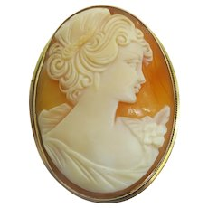 Vintage Genuine Coral 14k Yellow Gold Hand Carved Shell Cameo Pin Pendant