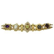 "Vintage 14k Slide Charm Bracelet, Multi-Gemstone 6.5"""