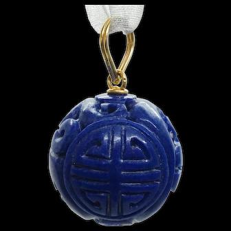 Antique Blue Lapis 14k Gold Bail Carved Globe