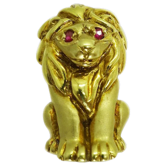 Vintage Antique Small 14k Lion Pendant, Ruby Eyes