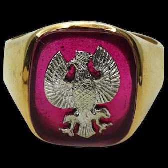 Men's Vintage 1952 14k Poland Coat of Arms White Eagle Ring Size 11.25