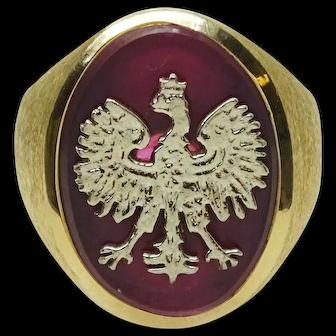 Men's Vintage 1969 14k Poland Coat of Arms White Eagle Ring Size 9.75