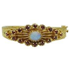 Antique Opal & Garnet 14k Yellow Gold Hinged Bangle Bracelet