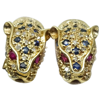 14k Gold Panther Earrings Diamond Ruby Sapphire