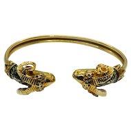Antique 14k Gold Ram Head Enamel Bracelet