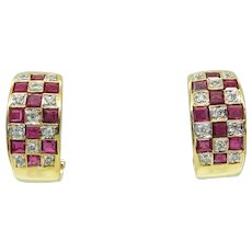 Vintage 14k Yellow Gold Ruby and Diamond Omega Earrings