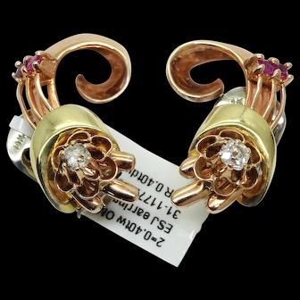 Estate Retro Modern Style 14k Tri-Color Gold Ruby & Diamond Clip-On Earrings