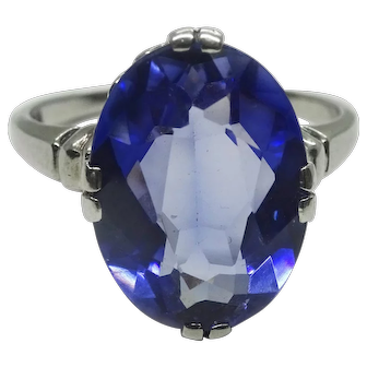 Victorian Synthetic Sapphire Gemstone 14k White Gold Ring, Size 6.25