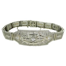 Vintage Art Deco 14k White Gold Diamond Station Bracelet